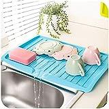 MAZIMARK-Kitchen Holder Tray Dish Plate Plastic Sink Drainer Drying Rack Fruits Washing