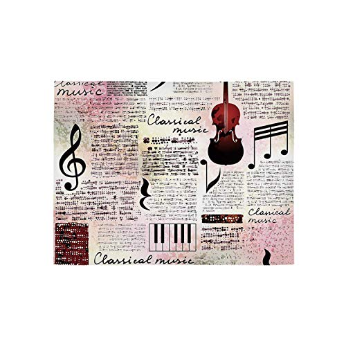 Old Newspaper Decor Utility Area Rug,Classical Music Theme Instruments Piano Violin Notes Symbols Decorative for Home,31