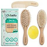 Wooden Baby Hair Brush Set | Infant Grooming Kit Includes Natural Goat Bristles Brush for Cradle Cap Treatment | Wood Bristle Brush for Newborns and Toddlers | Perfect Baby Shower and Registry Gift