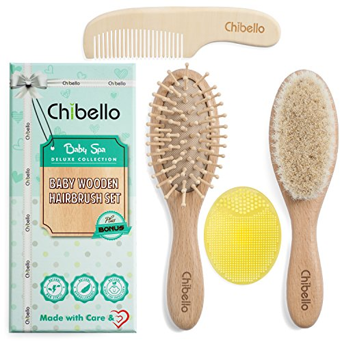 Chibello 4 Piece Wooden Baby Hair Brush and Comb Set | Natural Soft Goat Bristles Hairbrush for Cradle Cap Treatment | Wood Bristle Brush for Newborns and Toddlers | Best Baby Shower and Registry Gift