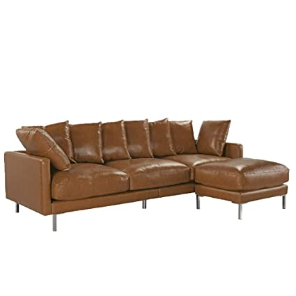 Amazon.com: Upholstered Leather Match Sectional Sofa Right ...