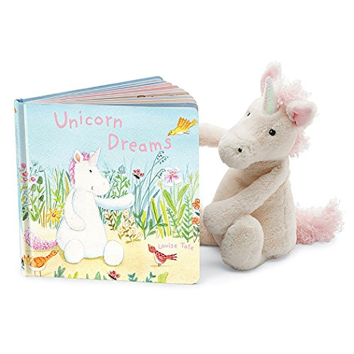 Jellycat Unicorn Dreams Board Book and Bashful Unicorn, Medium - 12 inches
