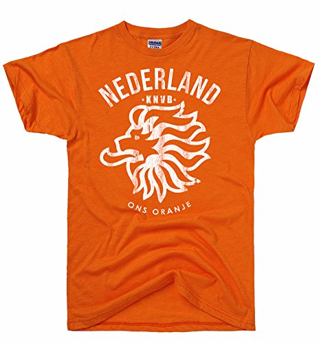 DirtyRagz Men's Netherlands Flag Holland Dutch Soccer Mens T-shirt L Orange