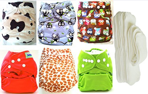 Baby 6pcs Pack Pocket Washable Adjustable Cloth Diaper with 6Inserts Animals (animal print and owls)