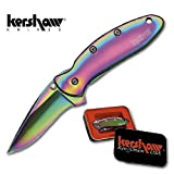 Kershaw K.O. Chive, Rainbow Titanium Coated Handle and Blade, Plain K1600VIB, Outdoor Stuffs