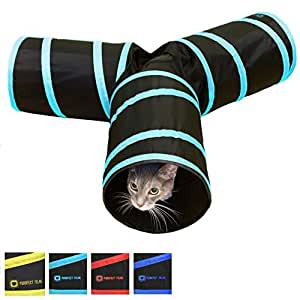 Tunnel of Fun, Collapsible 3-way Cat Tunnel Toy with Crinkle (Blue, Medium)