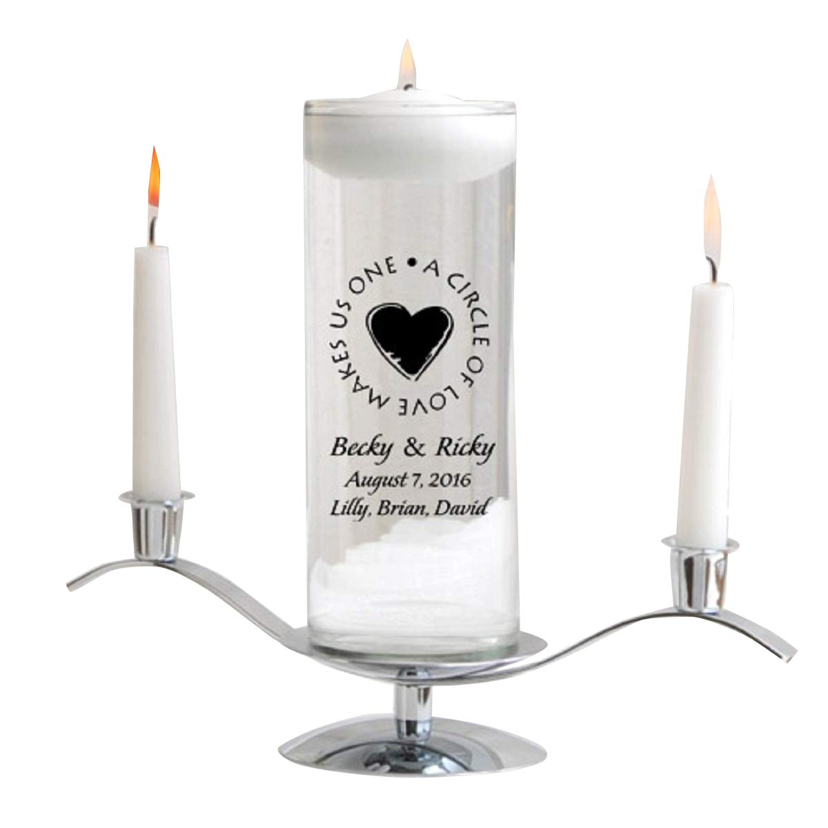 Personalized Floating Wedding Unity Candle Set- Second Marriage