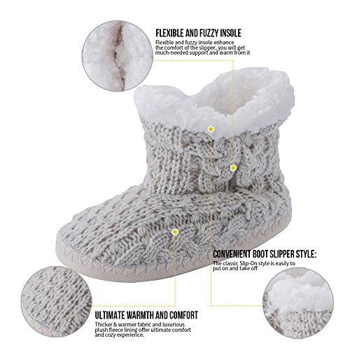 MaaMgic Womens Fuzzy Cable Knit Christmas House Slippers Ladies Cute Bedroom Indoor Winter Slippers Grey seuD6IGbC