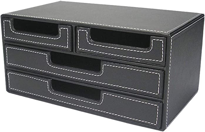 CHENWN - Caja de Almacenamiento para archivador de Oficina, de Piel, multifunción, para Escritorio, Suministros creativos de Oficina: Amazon.es: Hogar