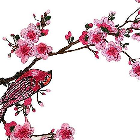a 23cm 36 Nowbetter Aufn/äher zum Aufb/ügeln mit Blumen und Vogel Bestickt Stoff Stickerei Aufn/ähen Applikation DIY Zubeh/ör Basteln f/ür Rucksack Cheongsam Kleid Kleidung Dekoration