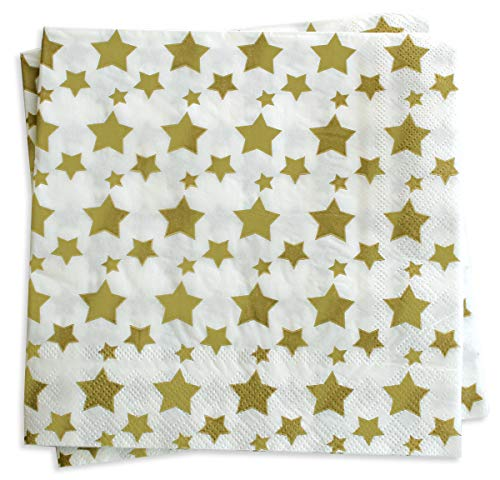 (Luncheon Napkins Gold Decorative Star Print 6.5 Inch Party Napkin Paper Disposable Folded Square for Lunch Dinner Buffet, Wedding, Birthday Parties, Summer Picnic 40 Count)