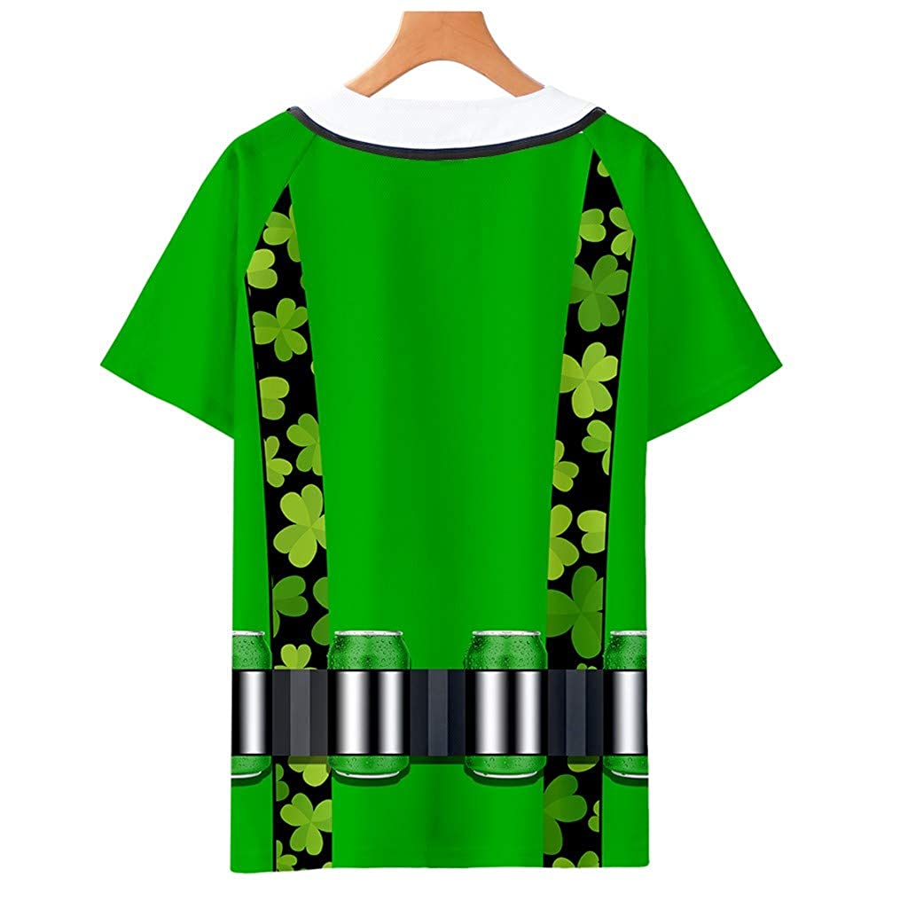 Star/_wuvi ST Patricks Day Blouse V-Neck Button Cardigan Tops 3D Printed Short Sleeve T-Shirt for Womens Mens