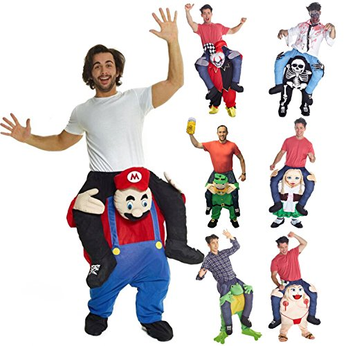 Unisex Piggyback Red Plumber Costume - With Stuff Your Own Legs (Book Costumes For Adults)