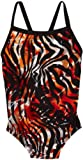 Speedo Big Girls'  Youth Zebra Haze Flyback Xtra Life Race Swimsuit, Deep Orange, 10/26