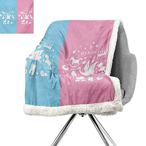 ScottDecor Gender Reveal Throw Blanket,Cute Icons Girls Boys Baby Shower Theme Stylized Toys Pattern,Sky Blue and Pale Pink,Soft Premium Cotton Thermal Blanket W59xL47 ()