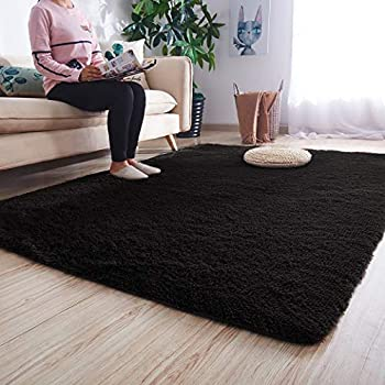 Noahas Ultra Soft Shaggy Area Rugs Fluffy Living Room Carpet Bedroom Fur Rug Anti-Skid Child Playing Mat Home Decor, 5.3 x 7.5 Feets Black