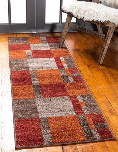Unique Loom Autumn Collection Checkered Abstract Casual Warm Toned Multi Runner Rug 2 0 x 6 0