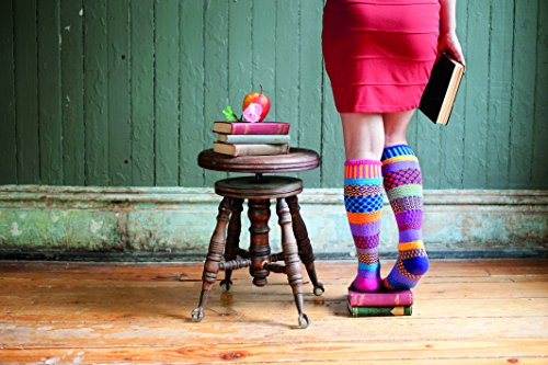 Solmate Socks - Mismatched Knee High Socks; Made in USA with Recycled Cotton Yarns; Carnation Small