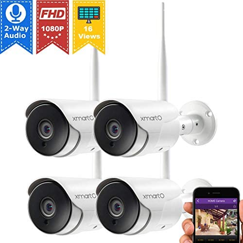 xmartO XMARTO 1080p HD Wireless Security Camera, Two-Way Audio, WiFi Home Surveillance Bullet Camera with Night Vision, Remote Access, IP65 Weather-Resistant, Motion Detection Alert 4-Pack