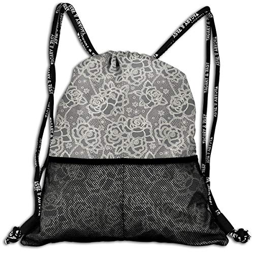 Drawstring Backpacks Bags,Ornate Romantic Roses Pattern Lace Style Backdrop And Victorian ()