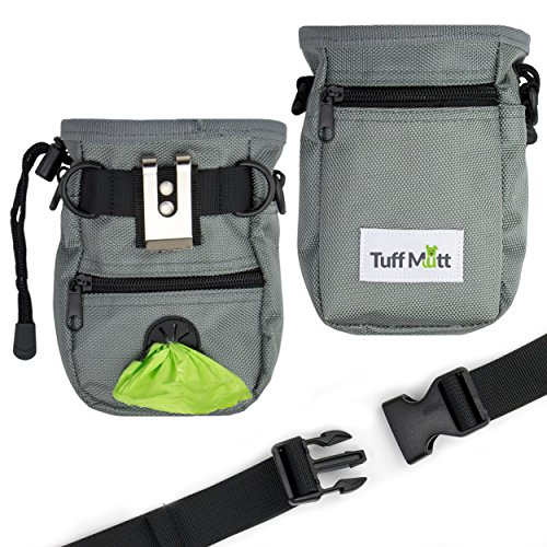 Cheap Tuff Mutt Dog Treat Pouch Training, Carries Treats Toys, Built-in Poop Bag Dispenser, Adjustable Waist Shoulder Belt, Includes One Roll Pet Waste Bags (Belt Clip Plus Waist/Shoulder Strap)