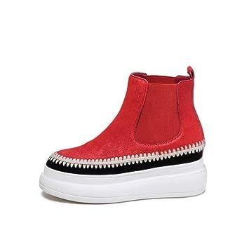 YAN Zapatos de Plataforma para Mujer Botas de otoño e Invierno de Gamuza Mocasines cómodos Antideslizantes Zapatos Altos Ocasionales Zapatos para Caminar al ...