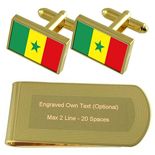 Gold Flag Money tone Gift Clip Engraved Senegal Set Cufflinks wC5qdxw4