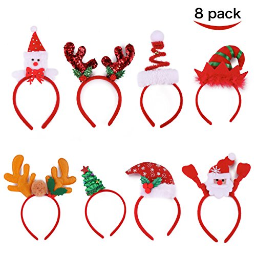 Joyin Toy Pack of 8 Christmas Headbands with Different Designs for Christmas and Holiday Parties (ONE SIZE FIT ALL)