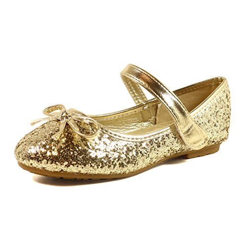 Nova Utopia Toddler Little Girls Ballet Flat Shoes,NF Utopia Girl NFGF312N Gold 1 ()