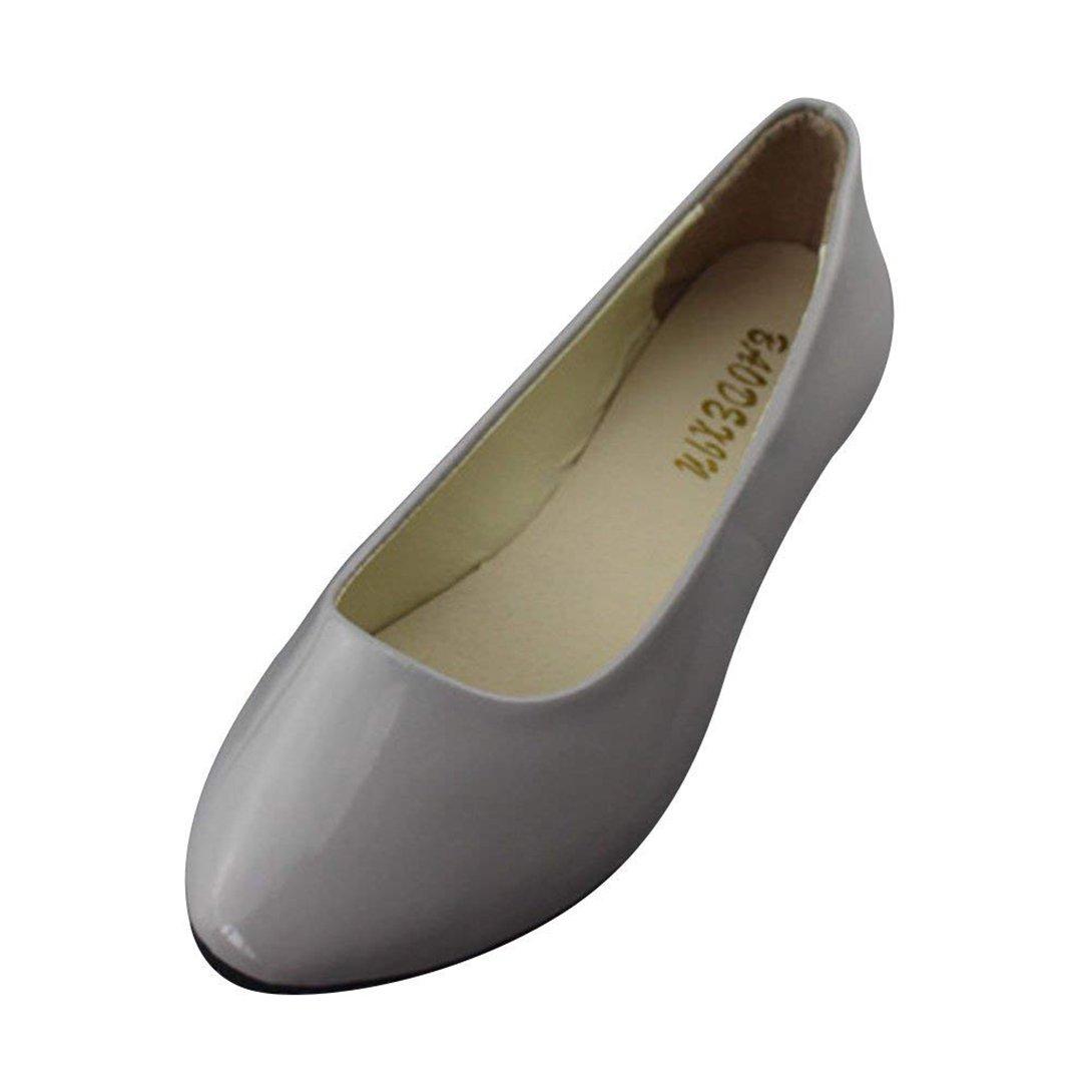 Femme Pointue Ballerines Plates Pointue Glisser sur 19954 Depolie Depolie Faux Cuir Brillante Mode Simple Chaussures de Été Gris 4535b15 - latesttechnology.space