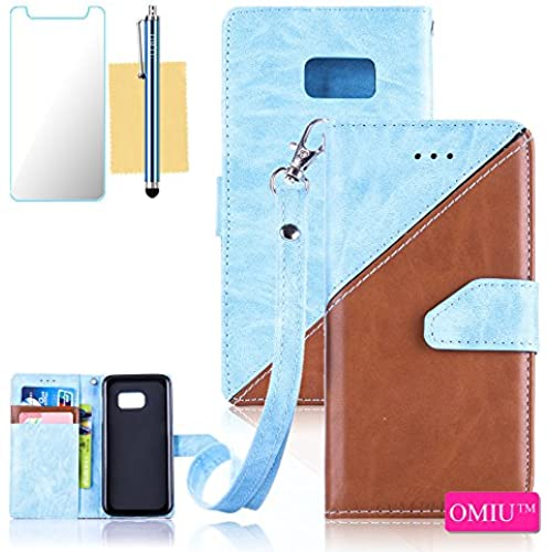 Galaxy S7 Case,S7 Case,OMIU(TM) Premium PU Leather Stitching Fabric Patterns Design Card Slots Stand Wallet Case for Samsung Galaxy S7-(Light Blue+Brown) Sales