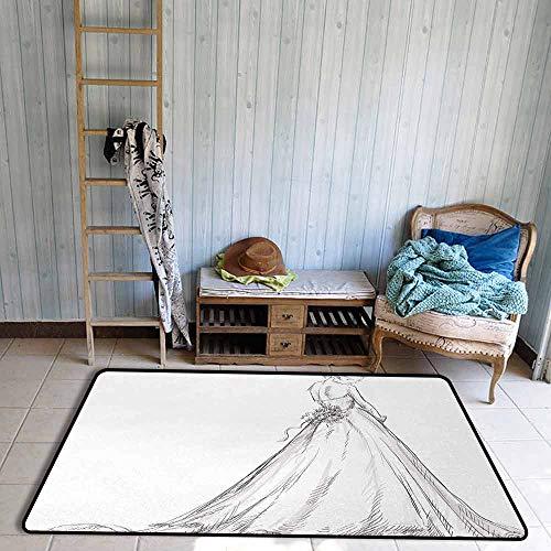 Bathroom Rug, Pet Carpet, Fairytale Ending of a Love Story Princess Sketchy Bride with Flowers Image, All Season Use, 55