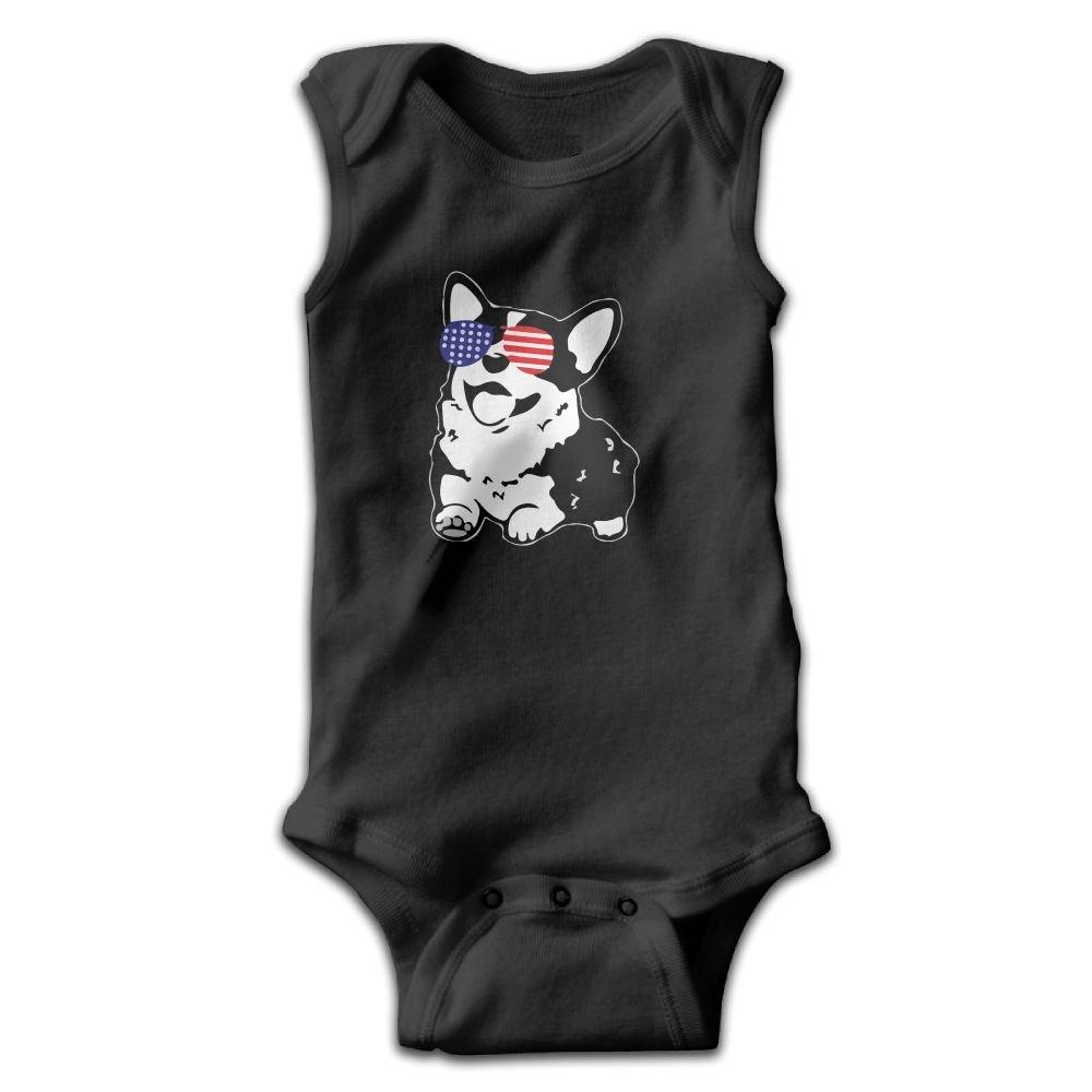 Infant Corgi America Flag Sunglasses Sleeveless Onesies Bodysuits Black