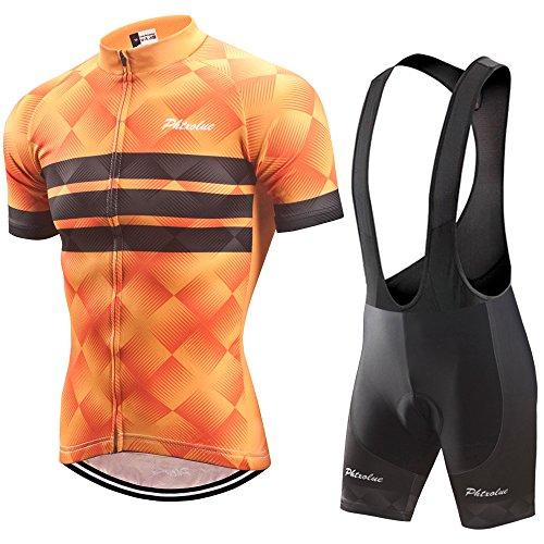 PHTXOLUE Men's Cycling Jersey Set Bicycle Short Sleeve Set Quick-Dry Breathable Shirt+3D Gel Pad Cushion Bib Shorts (Asia 2XL=US X-Large, Orange + Black)