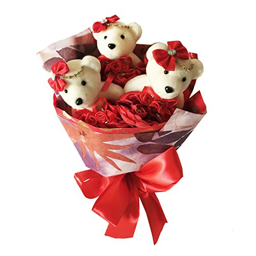 DIYJewelryDepot 3 Pcs Special Holiday Bear Red Theme Artificial Flower Quinceanera Bouquet