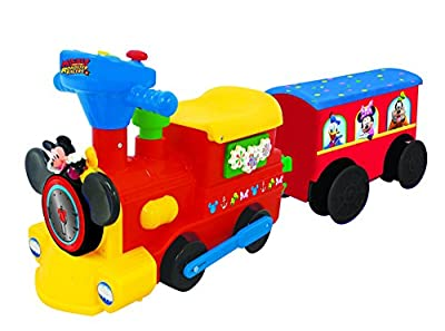 Kiddieland Toys Limited Battery-Powered Mickey Choo with Caboose & Tracks Ride On from Kiddieland - Import