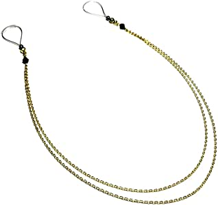 Nipple Rings Fake Jewelry Noose Non Piercing Double Chain Gold with Black Petit Beads