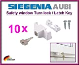 10 X SIEGENIA 880906 Safety window TURN LOCKS / LATCH KEYS!!! 10 pieces of Top quality safety locks to protect children to open the window!!! (with 4 mounting screws)!!!