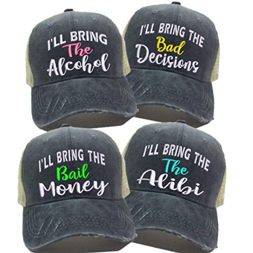 - I'll Bring The Alcohol Bad Decisions Hat Custom Men Women's Bail Money Alibi Ball Cap (Black/White Hat - Set All 4 Sayings - Pink)