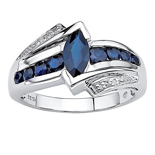 Midnight Sapphire - Marquise-Cut Genuine Midnight Blue Sapphire Platinum over .925 Sterling Silver Ring