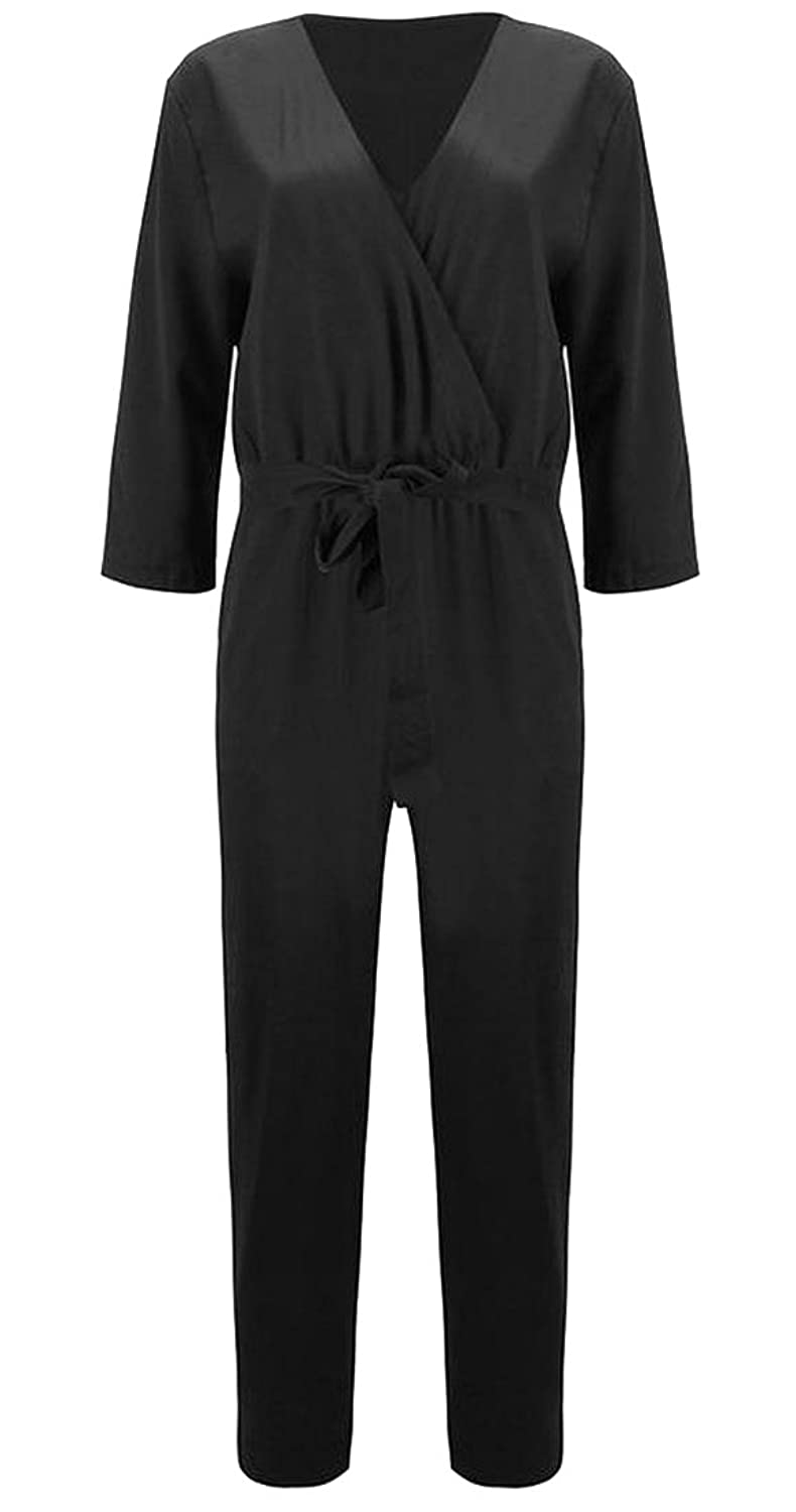 Generic Women's Loose V-neck 3/4 Sleeve Jumpsuits Romper