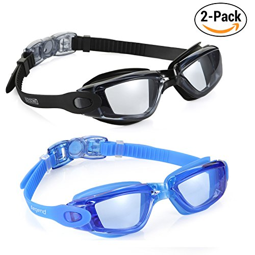 Aegend Swim Goggles, Pack of 2 Swimming Goggles Crystal Clear No Leaking Anti Fog UV Protection Triathlon Swim Goggles with Free Protection Case for Adult Men Women Youth Kids (Anti Fog Swimming Goggles)