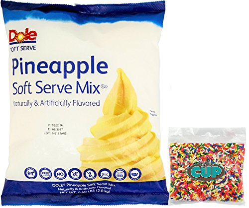 By The Cup Sprinkles and Soft Serve Ice Cream Bundle - Pineapple Dole Whip, 4.40 Pound Bag - with 4 Ounce bag Rainbow Sprinkles by By The Cup
