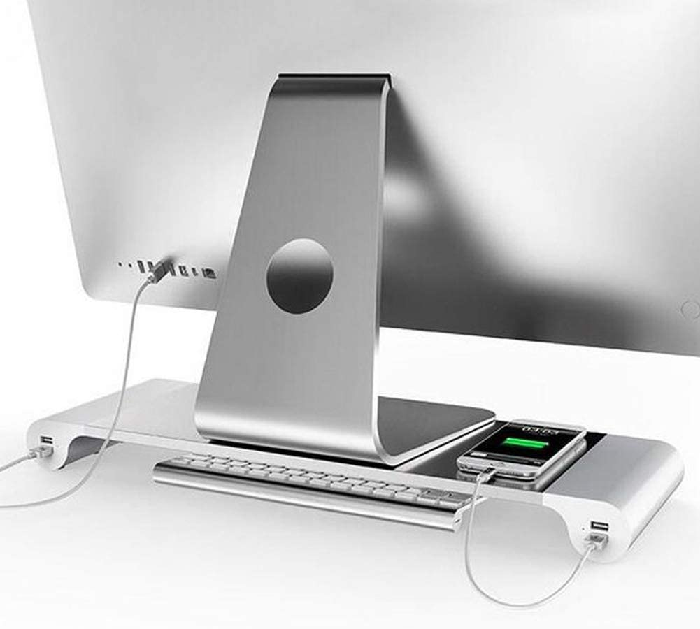 Aluminum Desk Monitor Stand Riser with 4 USB Hub for Speaker TV PC Laptop Computer Screen Riser Desk Organizer (Aluminum)