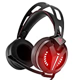 Gaming Headsets,Myguru 2017 Latest Bass Gaming Headphones PC Headset Professional 3.5mm Over Ear Headphones with Mic and Volume Control, Stunning LED Lights for PS4 Xbox One