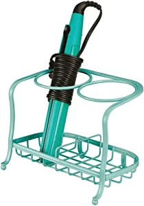 mDesign Metal Bathroom Vanity Countertop Hair Care & Styling Tool Storage Organizer Holder for Hair Dryer, Flat Irons, Curling Wands, Hair Straighteners - 2 Sections, Heat Safe - Teal Blue