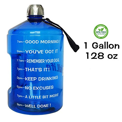 QuiFit 1 Gallon Water Bottle Reusable Leak-Proof Drinking Water Jug for Outdoor Camping Hiking BPA Free Plastic Sports Bottle(Blue)