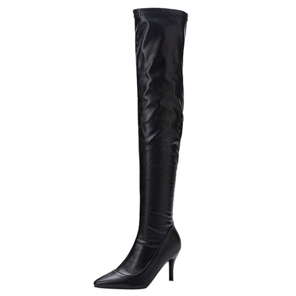 Yanvan High Boots Ladies Shoes,Women Sexy Snakeskin Over Knee Boots Pointed Slim Heels High Shoes by Yanvan