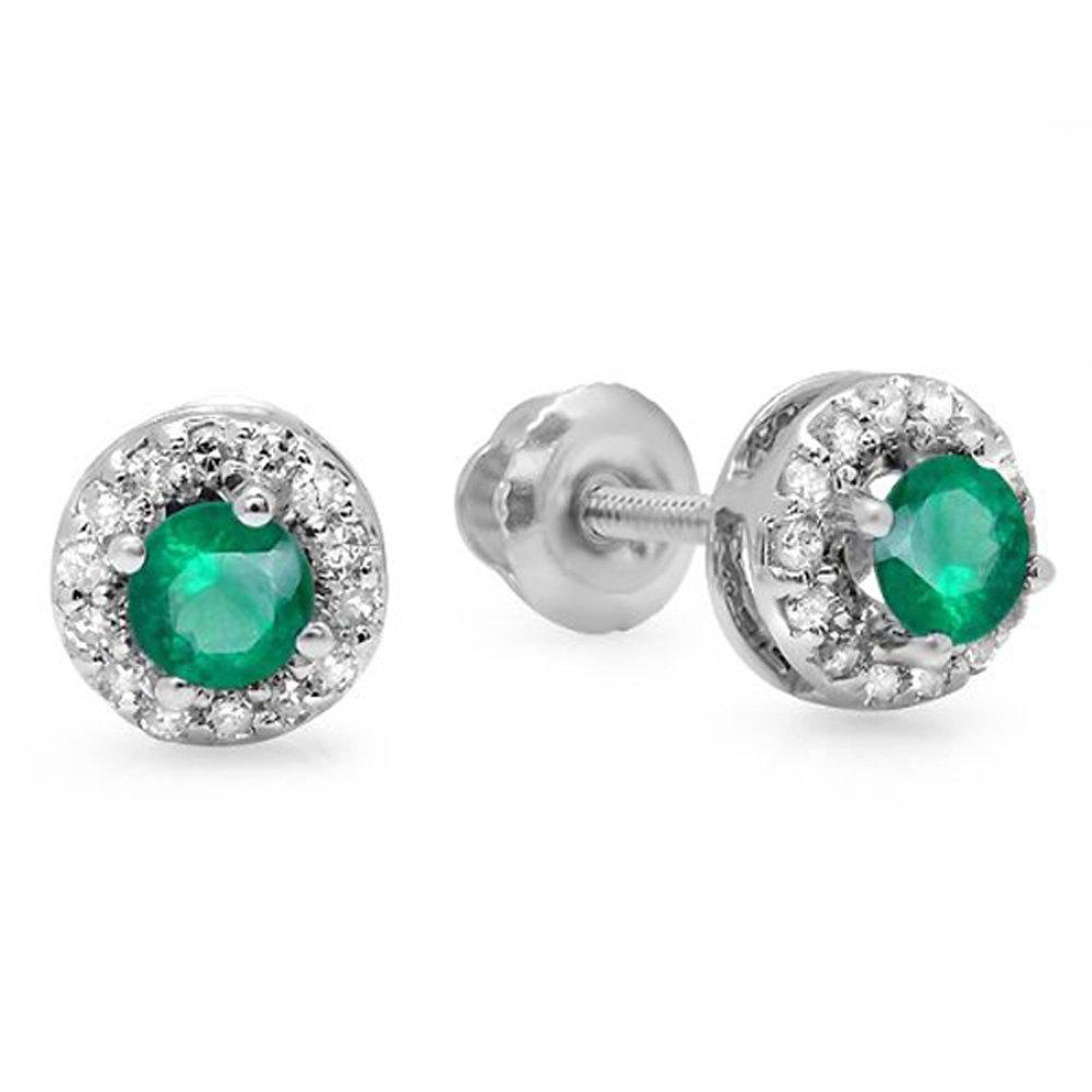 14K White Gold Round Green Emerald & White Diamond Halo Style Stud Earrings