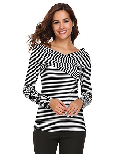 White Striped Shirt Top (Zeagoo Women Casual Basic V-Neck Long Sleeve Striped T-shirt Top Blouse Black and White XL)